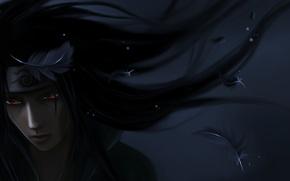 Обои темно, перья, арт, парень, Naruto, бандана, Itachi Uchiha