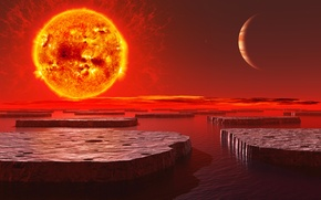 Картинка небо, звезда, остров, планета, горизонт, жар, плато, излучение