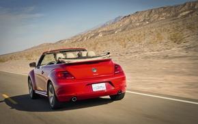 Картинка дорога, горы, красный, разметка, скорость, жук, кабриолет, автомобиль, Convertible, Volkswagen Beetle
