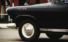 Картинка шины, Чёрный, диски, волга, колпаки, ГАЗ-21, чёрная волга, старая волга