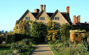 Обои дом, Packwood House, кусты, Англия, особняк, дорожка, газон