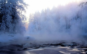 Картинка иней, лес, снег, деревья, туман, река, Зима, дымка