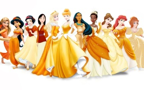 Обои Рапунцель, Жизель, Ариэль, дисней, принцессы, Жасмин, Мулан, Спящая красавица, Тиана, Белль, Золушка, Пакохонтас, Белоснежка, Принцессы ...