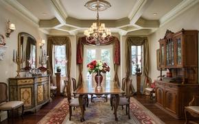Обои дизайн, сервант, классика, стулья, столовая, комод, стиль, стол, мебель, люстра, цветы