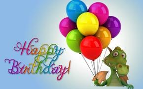 Картинка шары, дракон, colorful, dragon, funny, Happy, balloons, Birthday