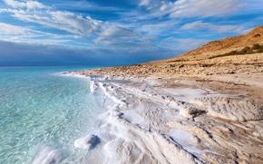 Картинка море, небо, пена, облака, соль