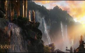 Обои эльфийский замок, waterfalls, elven castle, эльф, Gandalf, sunset, Галадриель, Туда и обратно, An unexpected journey, ...