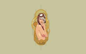 Картинка девушка, стиль, механизм, минимализм, пилот