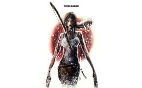 Картинка девушка, оружие, кровь, минимализм, белый фон, Tomb Raider, Lara Croft