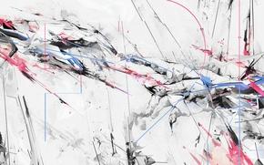 Картинка белый, линии, брызги, абстракция, розовый, голубой, краски, черный, цвет