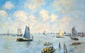 Картинка лодка, корабль, картина, парус, морской пейзаж, Клод Моне, Море в Амстердаме