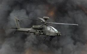 Картинка дым, вертолёт, Apache, ударный, AH-64, основной, «Апач»