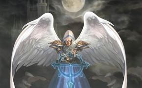 Картинка луна, крылья, ангел, арт, капюшон, natsuki-3, heroes of might and magic