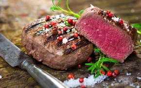 Обои knife, meat, cooked, ingredients