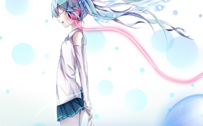 Картинка вода, девушка, наушники, арт, провод, vocaloid, hatsune miku, вокалоид, paparins