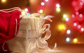 Обои огни, белый, свет, подарок