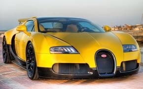 Картинка небо, желтый, тюнинг, veyron, суперкар, bugatti, бугатти, tuning, передок, roadster, вейрон, grand sport, спец.версия, qatar