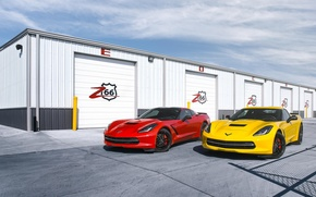 Обои chevrolet, corvette, c7, stingray, red, yellow, front, шевроле
