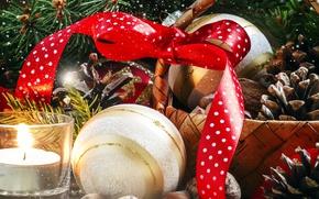 Картинка корзина, шар, свеча, лента, Новый год, украшение, бант, Christmas, шишки, New Year, nuts, bow, decoration, …