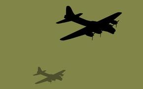 Обои самолет, небо, силуэт