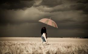 Картинка Girl, Clouds, Model, Storm, Female, Umbrella, Photo, Woman, Background, Field, Long Hair, Human, Top, Multi-Monitors, …