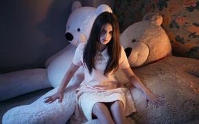 Картинка Girl, Model, Beauty, Fashion, Karina, Nice, Teddy, Bears, Gorokhov