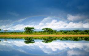 Картинка дорога, река, экзотика, Кения, Африканский пейзаж