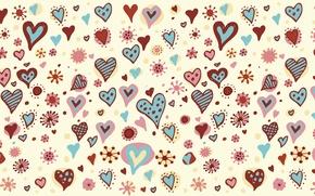 Картинка праздник, сердце, вектор, текстура, сердца, рисунки, сердечки, широкоформатные обои, обои на рабочий стол, hd обои, …