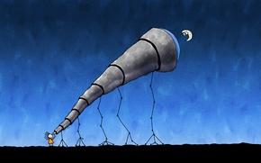 Картинка рисунок, месяц, Телескоп, астроном
