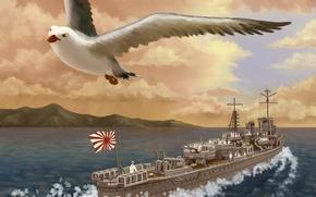 Картинка море, корабль, чайка, арт, птица