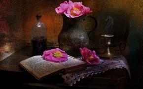 Картинка цветы, стиль, маки, книга, кувшин