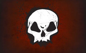 Обои красный, skull, Череп
