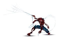 Картинка робот, паутина, белый фон, киборг, комиксы, marvel, comics, человек паук, spider man