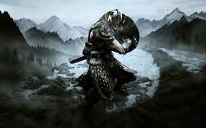 Обои меч, снег, Skyrim, щит, воин, the elder scrolls