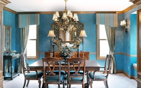 Обои цветы, синий, дизайн, стиль, стол, голубой, мебель, окна, лампа, стулья, интерьер, букет, зеркало, красиво, кухня, ...