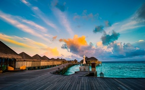 Картинка море, небо, облака, тропики, горизонт, Мальдивы, бунгало