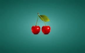 Картинка вишня, минимализм, синий фон, черешня, cherry, две штуки
