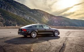 Картинка горы, Audi, ауди, черная, wheels, black, rearside