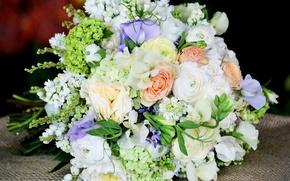 Картинка букет, нежные, Розы, Roses, Лютик, Гортензия, Эустома, Bouquets