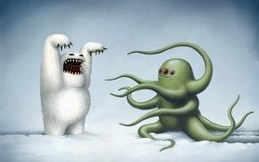 Обои монстры, черный юмор, снег, rob sheridan, зима, йети, рисунок, осьминог, пугают, три глаза