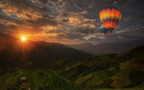 Картинка пейзаж, воздушные шары, Закат, панорама