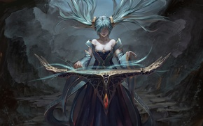 Картинка взгляд, девушка, магия, арт, sona, league of legends