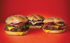 Картинка wallpapers, food, обои, салат, майонез, фаст, чизбургеры, fast, фуд, помидор, кетчуп, 1920x1200, красный, кунжут, бекон, ...