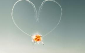 Обои Love, сердце, небо, любовь, взрыв, самолеты