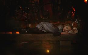 Картинка игрушка, лампа, сон, девочка, скамья