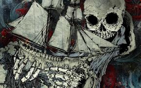 Обои картина, скилет, Корабль, череп