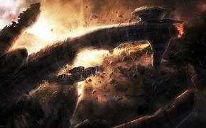 Картинка космос, корабль, станция, чужие, остов, арт, метеориты, Alien, Radojavor
