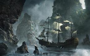 Картинка море, волны, небо, облака, скалы, корабль, парусник, бухта, арт, storm, sea, art, rocks, Michal Matczak, …