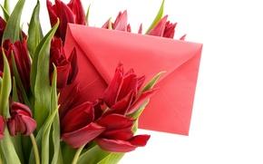 Картинка письмо, романтика, весна, тюльпаны, red, 8 марта, beautiful, Spring, конверт, lovely, bouquet, Tulips