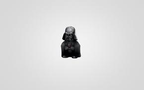 Картинка минимализм, Star Wars, Звездные войны, Darth Vader, светлый фон, Дарт Вейдер